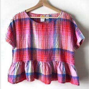 C&C California linen madras plaid peplum shirt